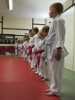 Children attending the Judo class grading lines up with low grades closest to the camera.