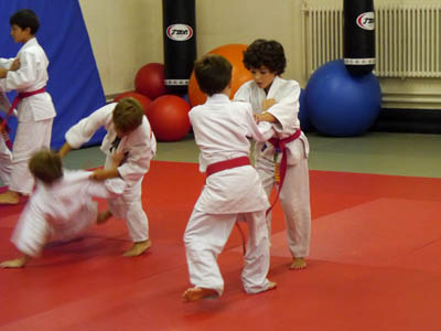 Kids competing during the Judo grading.