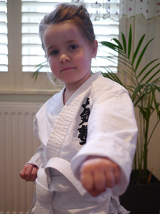 Nina in her brand new Karategi getting ready for some Karate action in Wandsworth